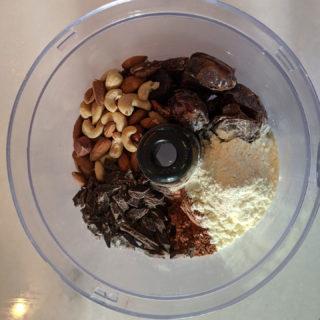 Copycat Sea Salt Chocolate RX Bar Ingredients Before Blending