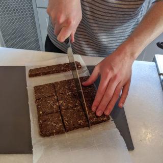 Cutting the Sea Salt Chocolate Copycat RX Bars